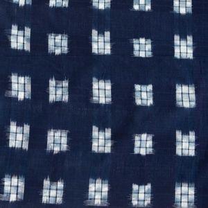 Ikat Yarn Dye Fabric - Blue Checkerboard